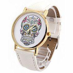 DAYAN Damenmode Sport Watch Genf Schädel Gold-Leder Analog Quarz-Armbanduhr Farbe Weiß - http://uhr.haus/dayan/dayan-damenmode-sport-watch-genf-schaedel-gold-2
