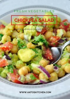 A healthy and low-carb chickpea avocado salad. #chickpea #avocado #salad