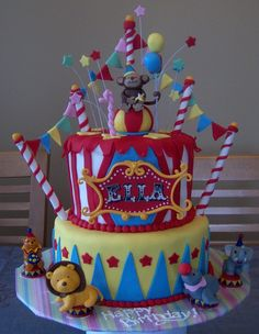 Circus cake for Circus Monkey party? Carnival Cakes, Circus Cakes, Circus Carnival Party, Circus Theme Party, Carnival Birthday Parties, Circus Birthday, First Birthday Parties, Birthday Party Themes, First Birthdays