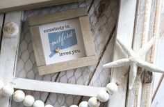 """Somebody in YOUR TOWN & STATE Loves You Mini 4""""x4"""" Wood Sign 