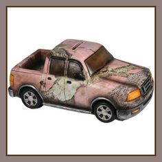 "Every little girl needs her own camo pick-up! Poly resin truck ""Piggy Bank"" in Fall Transition Pink Camouflage artwork by CB Outdoor. Has removable plastic stopper on bottom for ""saving withdrawals."