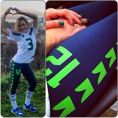 Seattle Seahawks inspired yoga pants. PREORDER Size S,M,L (Goes great with jersey and socks!)