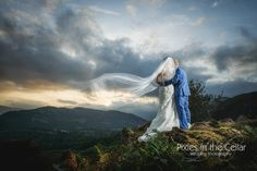 We do love big landscapes, with a bride and groom this one certainly ticked all the boxes! Veil in the wind too, perfect! Lake District Wedding Photography, Grasmere, Dale Lodge Hotel - Pixies in the Cellar.