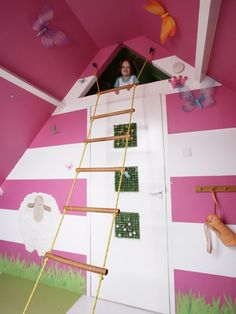 jeux enfant salle idée déco mur rose papillons décoration chambre enfant original jeux