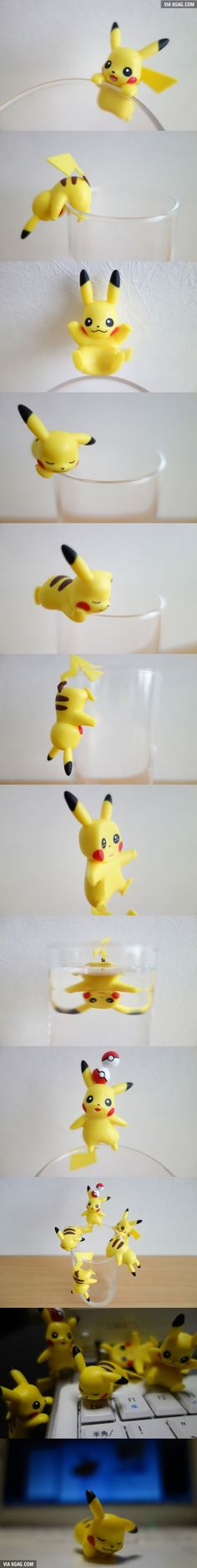 These Pikachus will cling to the side of your cup!