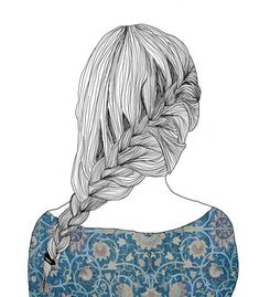 beautiful, braid, draw, hair, illustration - Home Sketch Style, Drawing Sketches, Art Drawings, Girly Drawings, Sketching, Moustaches, How To Draw Hair, Favim, Tumblr Girls