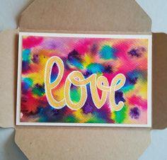Tarjeta love acuarela/Love watercolor card