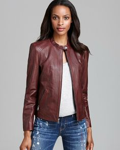 Andrew Marc New York Leather Jacket - Zip Front Moto on shopstyle.com