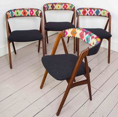 Yucay chair is a beautiful 1960′s Danish teak chair upholstered in a bright and bold Peruvian fabric.