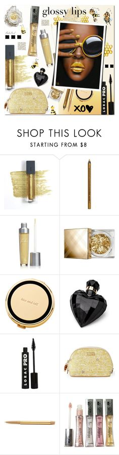 """""""Glossy Honey Lips"""" by theseapearl ❤ liked on Polyvore featuring beauty, Bite, NYX, Sue Devitt, Burberry, Kate Spade, Lipsy, LORAC, Lilly Pulitzer and Mally"""