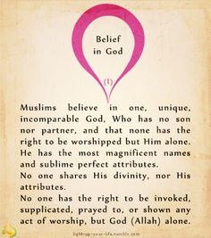 Islam - The Six Pillars of Faith - Belief in God Islam Religion, Islam Muslim, Muslim Beliefs, Jesus Peace, Gospel Bible, Pillars Of Islam, Islamic Studies, Hadith, Alhamdulillah
