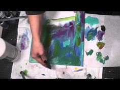 Mixed Media Friday Abstract Canvas Art Tutorial- acrylic paint blended and using water to lift off parts of it, plus acrylic ink