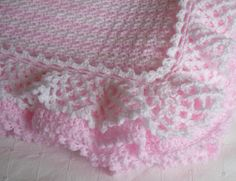crochet edgings for baby blankets | Crochet Baby Blanket Afghan - Layered Ruffles and Stripes - Pink and ...