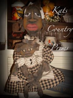 Black Grungy Folk Art Style Doll With Baby Siddalee & Teensie...