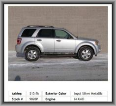 2010 Ford Escape XLT SUV  Front And Rear Suspension Stabilizer Bars, Passenger Airbag, Left Rear Passenger Door Type: Conventional, Variable Intermittent Front Wipers, Suspension Class: Regular, Rear Leg Room: 35.6, Liftgate Window: Flip-Up, Power Remote Passenger Mirror Adjustment, 4-Wheel Abs Brakes, Cupholders: Front And Rear, Rear Shoulder Room: 55.9, Steel Spare Wheel Rim, Abs And Driveline Traction Control, 600 Lbs., Tires: Profile: 70,