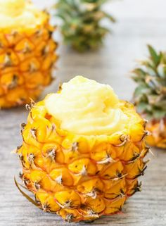 This soft serve pineapple dessert is refreshing and light and tastes like the popular treat at Disneyland.Pineapple Dole Whip Copycat frozen pineapple cubes & whole milk Dole Pineapple Whip, Pineapple Desserts, Hawaiian Desserts, Pineapple Recipes, Mango Recipes, Delicious Desserts, Yummy Food, Healthy Food, Healthy Eating