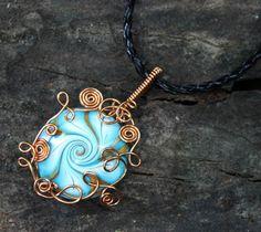 Copper Wire Wrap Swirl Polymer Clay Vortex Pendant by Create-A-Pendant.deviantart.com on @deviantART
