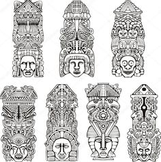 Illustration about Abstract mesoamerican aztec totem poles. Set of black and white vector illustrations. Illustration of artifact, amerindian, mesoamerican - 28009284 Totem Tattoo, Aztec Pictures, Aztec Tattoo Designs, Marquesan Tattoos, Aztec Art, Mesoamerican, Tatoo Art, Doodles Zentangles, Art Images