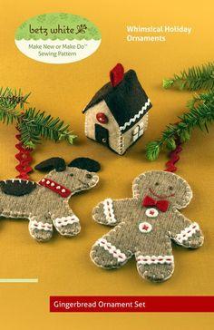 Gingerbread Ornament Set  PDF PATTERN by betzwhite on Etsy, $12.95