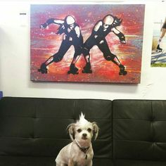 Wicked Skatewear is another awesome company that we featured in the March #boutbetties box. They support local derby artists as well so that's definitely a plus! ANNND we're just loving on this pup's mohawk!  #Repost via @wickedskatewear  Shit Pants is showing off some cool new art we have for sale. This little number was painted by Carolyn Petok and it's hanging at Wicked LA for everyone to come check out.  #wickedskatewear #rollerderby #rollerderbyart by bout_betties