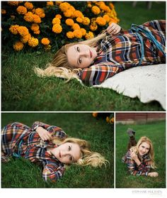 CLASS OF 2017  – ILLINOIS SENIOR PHOTOGRAPHER - Senior girl photos  - marigolds -  flannel dress - Stephanie Hulthen, Photographer | www.StephanieHulthenPhotography.com