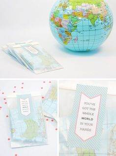Free Printable Party Favor Labels for World Globe Themed Birthday Party #globe #world #printables