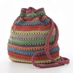 Mudd Striped Crochet Drawstring Backpack, for colour inspiration