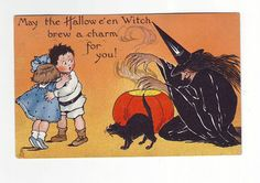 "Vintage Halloween Postcard ~ ""May the Hallowe'en Witch brew a charm for you!"" * Postmarked October 28, 1912"