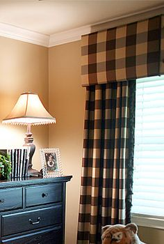 Custom Drapery and this is what I want in our house right now...those big fat silk checkered drapes! the tan walls and black chest....we're so close!