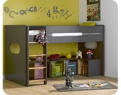 Sparky Mid Sleeper Bed - grey anthracite and natural beechwood
