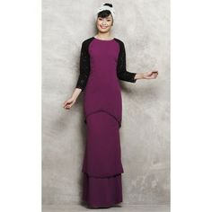 Modern Baju Kurung with Tiered Skirt in Purple
