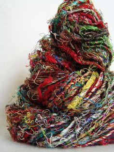 Recycled silk yarn.