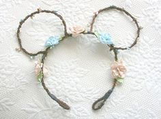 Custom Disney Ears Flower Crown Headband, boho, minnie, mickey, fashion, bark vine, wreath, woodland, rustic, fairytale