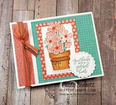 Basket of Blooms Stampin\' UP! set with Small Blooms punch and Stampin\' Blends markers, by Patty Bennett www.PattyStamps.com Card Book, Up Book, Fun Fold Cards, Folded Cards, Cards Diy, Handmade Cards, Waterfall Cards, Easel Cards, Card Making Inspiration