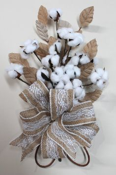 Natural Cotton Bolls, Cotton Anniversary Bouquet, 2nd Anniversary Gift, Cotton Arrangement, Bridal Bouquet, Wedding Decor, Burlap Leaves