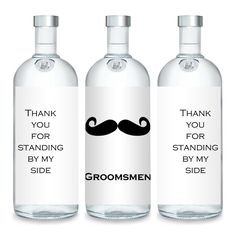 Liquid Courage Flasks: Groomsmen Custom Absolut Vodka Mini 50mL Bottle Labels