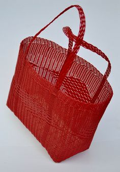 Picnic Woven Guatemalan Bright Red Plastic Market Basket Strong Resistant Bag…