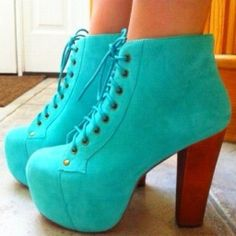 TURQOISE BLUE TIE UP BOOTIES in DivaLicious Boutique