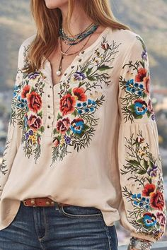 Boho Outfits, Stylish Outfits, Casual Tops, Casual Shirts, Casual Chic, Trendy Tops, Boho Bluse, Boho Chic, Boho Style