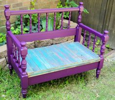 bench made out of an old bed frame!!` great for garden lounging or even a doggie bed!!!