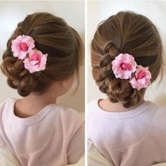 girls' braided bun hairstyle