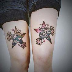 woman leg star tattoo bacak yıldız dövmesi bayan