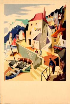 Devon Cornwall Fishing Village Nevin Midcentury 1950s - original vintage poster by Pat Nevin listed on AntikBar.co.uk