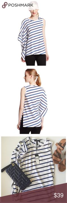 BCBGMaxAzria Laguna Blue and white striped top Gorgeous BCBGMaxAzria Laguna striped Ruffled sleeve top . Perfect for your vacations/  The draped sleeve adds feminine appeal to this classic striped top in a trendsetting, modern silhouetteNew with tags/ 100% cotton , sold out everywhere BCBGMaxAzria Tops Tank Tops