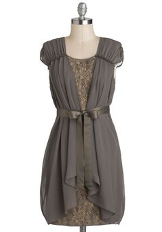 Sincere Fluttery Dress - Brown, Lace, Party, Sheer, Mid-length, Tan / Cream, Belted, Sheath / Shift, Cap Sleeves #modcloth #partydress