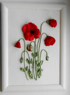 Nakış.. Ribbon Embroidery Tutorial, Ribbon Flower Tutorial, Silk Ribbon Embroidery, Embroidery Art, Embroidery Stitches, Embroidery Patterns, Ribbon Art, Diy Ribbon, Ribbon Crafts