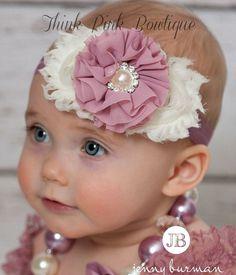 Baby headbands, Baby Headband,Ivory Headband,baby girl headband,Girls Headband,Mauve Headband,Girls Headband, Easter Headband,Baby Bows❤️