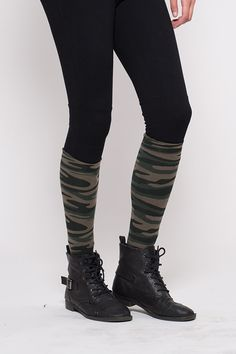 5062be43ac2 Premium opaque knee-hi with attached performance ankle sock with stylized  camouflage pattern.