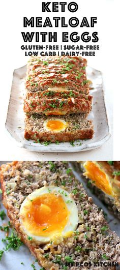 Keto Meatloaf with Eggs - My PCOS Kitchen - A delicious low carb meatloaf that's completely gluten-free and sugar-free! Stuffed with hard boiled eggs with soft yolks. ketomeatloaf lowcarb meatloaf glutenfree lchf keto ketogenic via Lunch Recipes, Low Carb Recipes, Diet Recipes, Healthy Recipes, Diabetic Recipes, Healthy Meals, Cookie Recipes, Healthy Eating, Low Carb Meatloaf