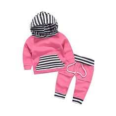 0df02d314df4 Mikrdoo Autumn Outfit Set Newborn Baby Boy Girl Striped Hoodie Pocket  T-Shirt Pants Kids Clothes (3-4T